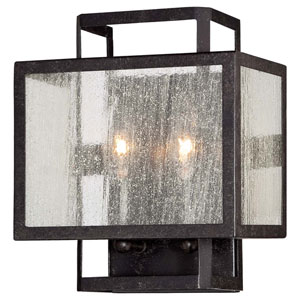 Camden Square Aged Charcoal Two-Light Wall Sconce