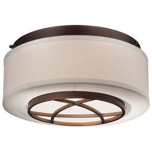 City Club Two-Light Semi-Flush Mount in Dark Brushed Bronze with White Fabric Shade