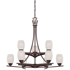 City Club Nine-Light Two-Tier Chandelier in Dark Brushed Bronze