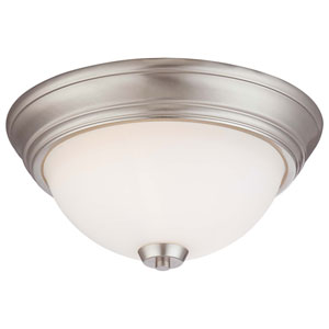 Overland Park Brushed Nickel Two Light Flush Mount