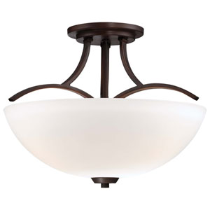Overland Park Vintage Bronze Three-Light Semi-Flush Mount