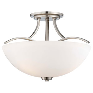Overland Park Brushed Nickel Three Light Semi-Flush Mount