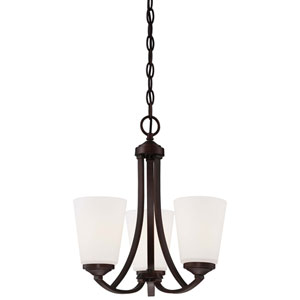 Overland Park Vintage Bronze Three-Light Mini Chandelier