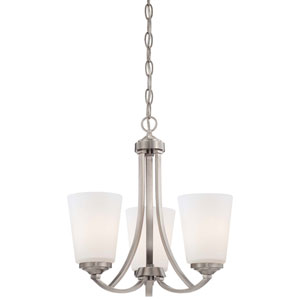 Overland Park Brushed Nickel Three Light Chandelier