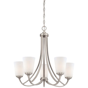 Overland Park Brushed Nickel Five Light Chandelier