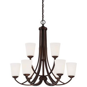 Overland Park Vintage Bronze Nine-Light Two-Tier Chandelier