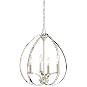 Tibury Polished Nickel Four-Light Pendant