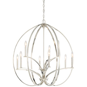 Tibury Polished Nickel Nine-Light Chandlier