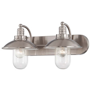 Downtown Edison Brushed Nickel Two Light Bath Fixture
