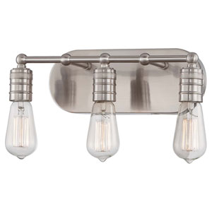 Downtown Edison Brushed Nickel 8.25-Inch Three Light Bath Fixture