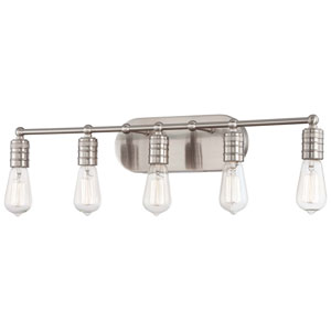 Downtown Edison Brushed Nickel Five Light Bath Fixture