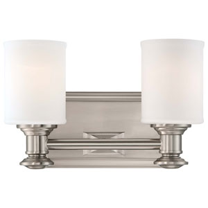 Harbour Point Brushed Nickel Two Light Bath Fixture