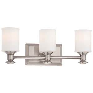 Harbour Point Brushed Nickel Three Light Bath Fixture