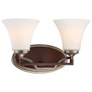 Astrapia Dark Rubbed Sienna 15-Inch Two-Light Bath Sconce