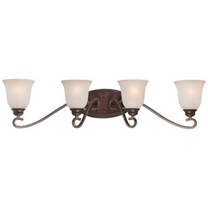 Gwendolyn Place Dark Rubbed Sienna 33-Inch Four-Light Vanity Fixture