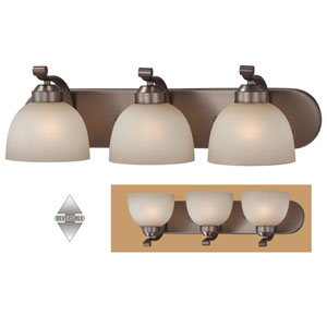 Paradox Harvard Court Bronze Three-Light Bath Fixture
