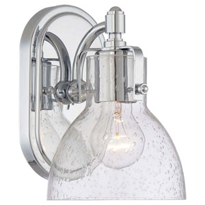 Chrome One Light Bath Fixture with Clear Seeded Glass