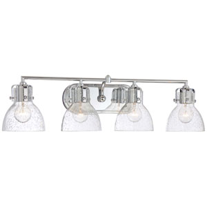 Chrome 8.5-Inch Four Light Bath Fixture with Clear Seeded Glass