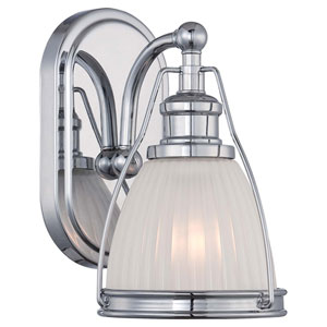 Chrome One Light Bath Fixture with Etched Opal Glass