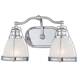 Chrome 9-Inch Two Light Bath Fixture with Ribbed Opal Glass