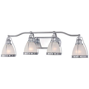 Chrome 9-Inch Four Light Bath Fixture with Ribbed Opal Glass