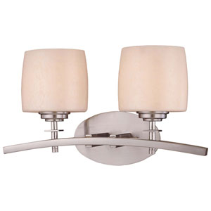 Raiden Brushed Nickel Two-Light Bath Fixture