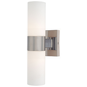 Brushed Nickel Four-Inch Two-Light Wall Sconce