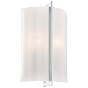 Clarte Chrome Two-Light Wall Sconce with White Iris Glass
