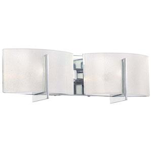 Clarte Chrome Two-Light Bath Fixture with White Iris Glass