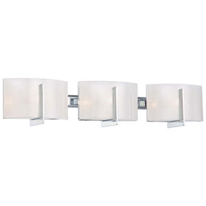 Clarte Chrome Three-Light Bath Fixture with White Iris Glass