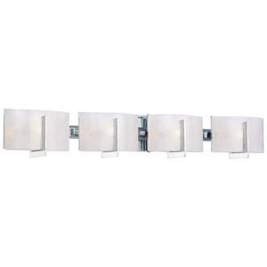 Clarte Chrome Four-Light Bath Fixture with White Iris Glass
