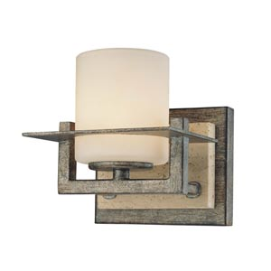 Compositions Aged Patina Iron with Travertine Stone One-Light Bath