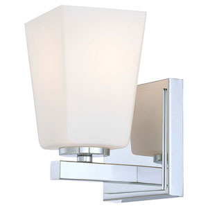 City Square Chrome One-Light Bath Fixture with Etched Opal Glass