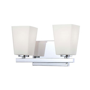 City Square Chrome Two-Light Bath Fixture with Etched Opal Glass