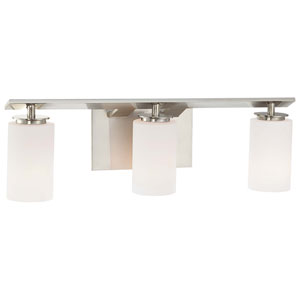 Inoui Brushed Nickel Three-Light Bath Fixture with Etched White Glass