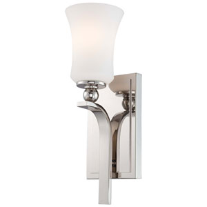 Ameswood Polished Nickel One-Light Wall Sconce with Etched White Glass