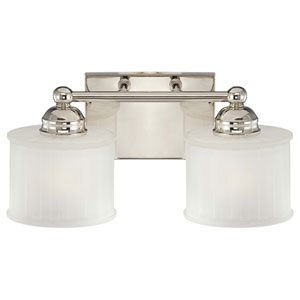 1730 Series Polished Nickel Two-Light Bath Fixture with Etched Glass