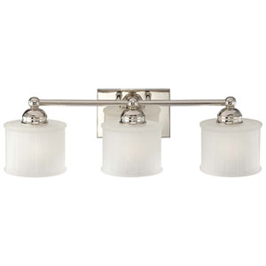 1730 Series Polished Nickel Three-Light Bath Fixture with Etched Glass