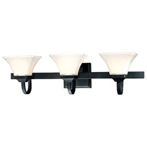 Agilis Black Three-Light Bath Fixture