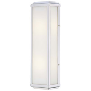 Daventry Polished Nickel Two-Light Wall Sconce with White Glass