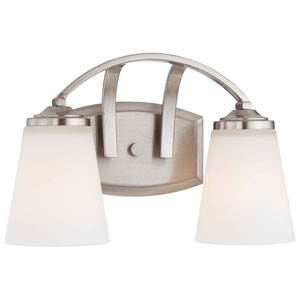 Overland Park Brushed Nickel Two Light Bath Fixture