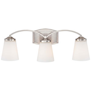 Overland Park Brushed Nickel Three Light Bath Fixture