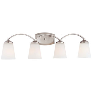 Overland Park Brushed Nickel Four Light Bath Fixture