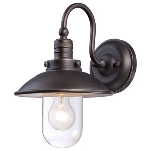 Downtown Edison Oil Rubbed Bronze with Gold Highlights One-Light Outdoor Wall Mount