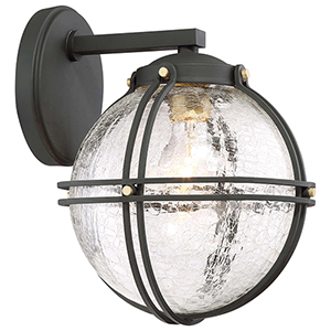 Rond Black 9-Inch One-Light Outdoor Wall Mount