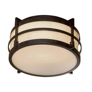 French Bronze Fluorescent Flush Mount Ceiling Light