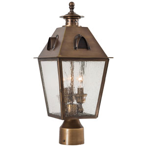 Edenshire Three-Light Outdoor Post Mount in English Brass
