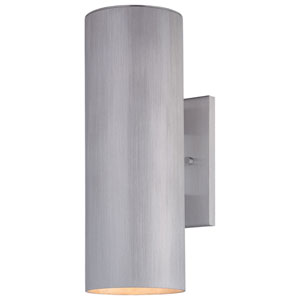 Brushed Aluminum Two-Light Fluorescent Outdoor Wall Mount