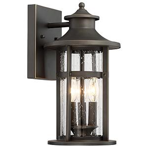 Highland Ridge Oil Rubbed Bronze 8-Inch Three-Light Outdoor Wall Lamp