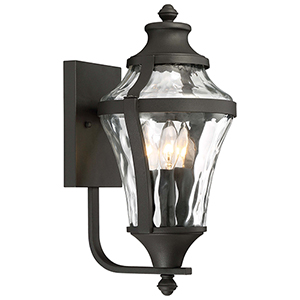 Libre Black 9-Inch Three-Light Outdoor Wall Lamp